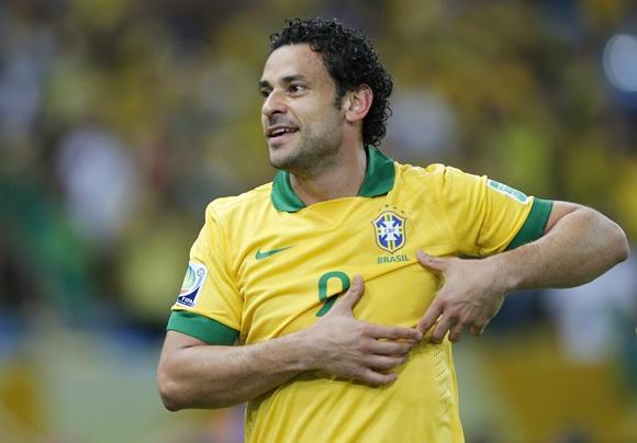 Brazil's Fred celebrates