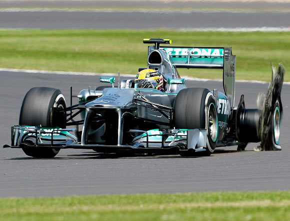 Lewis Hamilton has a left rear tyre failure during the British Formula One Grand Prix