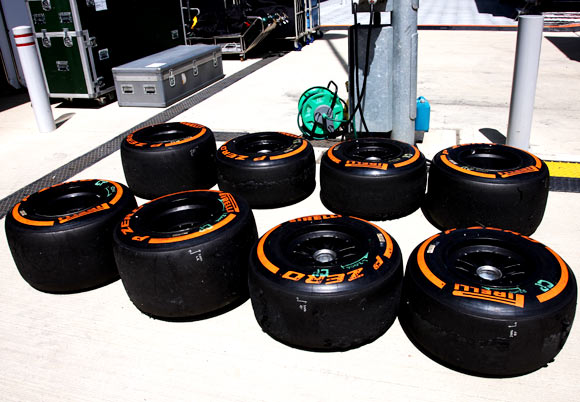 Pirelli orange hard compound tyres are seen in the paddock