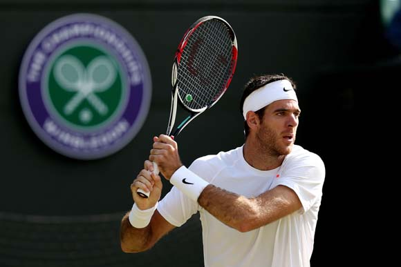 Juan Martin Del Potro of Argentina plays a backhand