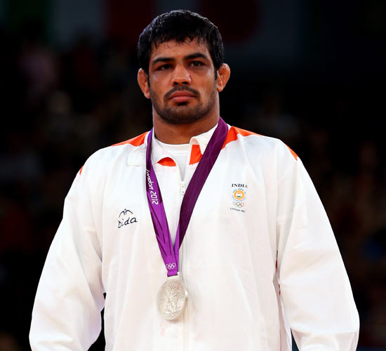 Sushil Kumar after winning with the silver medal at the London Olympics