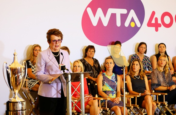 WTA founder Billie Jean King (extreme left)