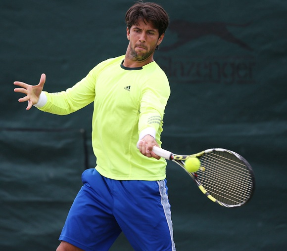 Fernando Verdasco of Spain plays a forehand during a practice session