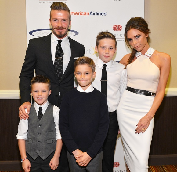 David Beckham, wife Victoria Beckham and sons (from left) Cruz, Romeo and Brooklyn Beckham