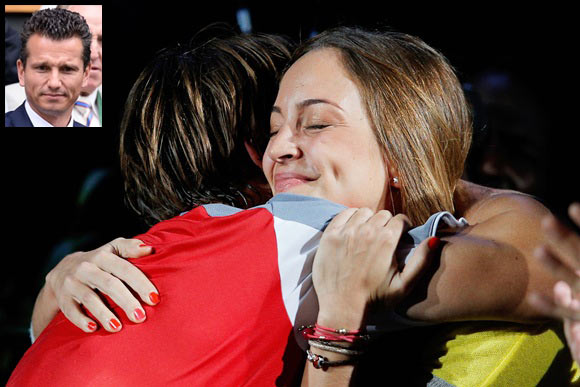 David Ferrer of Spain celebrates with girlfreind Marta Tornel