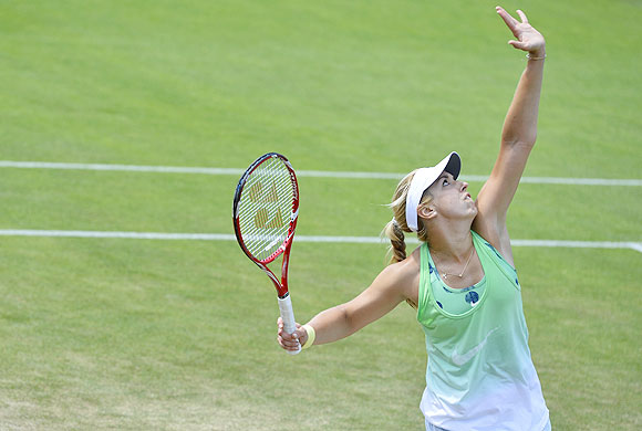 Sabine Lisicki of Germany trains on a practise court on  Friday