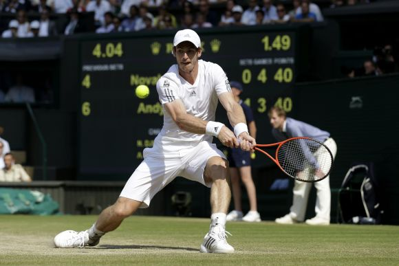 Andy Murray of Great Britain plays a backhand during the Gentlemen's Singles Final match