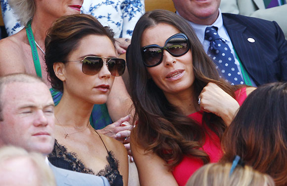 Victoria Beckham and Tana Ramsey, the wife of celebrity chef Gordan Ramsey, at the Wimbledon men's final on Sunday