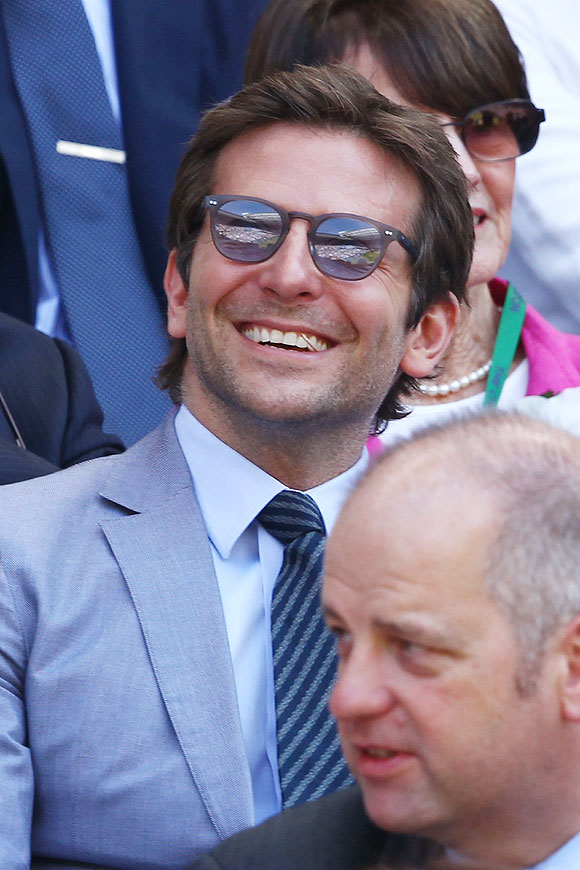 Hollywood actor Bradley Cooper at the Wimbledon men's final on Sunday