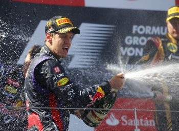 Sebastian Vettel celebrates after winning the German GP on Sunday
