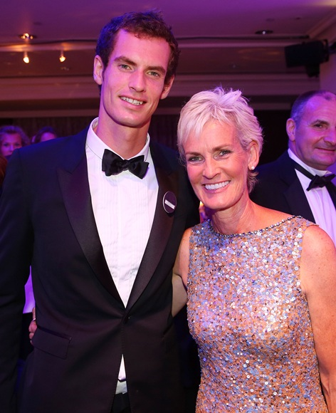 Gentlemen's Singles Champion Andy Murray of Great Britain poses with his mother Judy Murray
