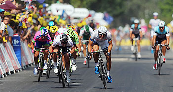Mark Cavendish (left) of Great Britain and Omega Pharma- Quick Step sprints against stage winner Marcel Kittel (right) of Germany and Team Argos-Shimano during stage twelve of the 2013 Tour de France, on Thursday