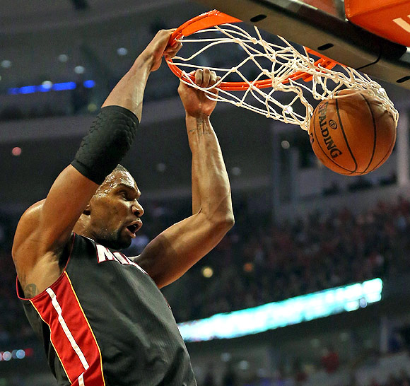Chris Bosh of the Miami Heat dunks against the Chicago Bulls in the Eastern Conference semi-finals