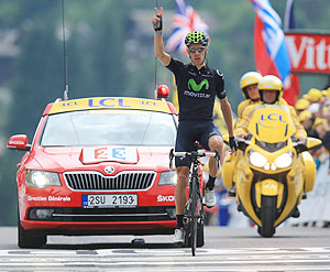 Rui Costa of Portugal and Movistar Team celebrates winning stage nineteen of the 2013 Tour de France, a 204.5KM road stage from Bourg d'Oisans to Le Grand Bornand, in Le Grand Bornand, France, on Friday