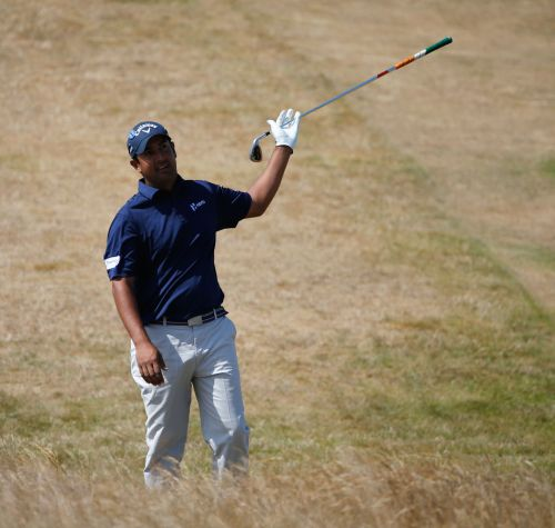 Shiv Kapur of India reacts on the 6th during the third round of the 142nd Open Championship at Muirfield