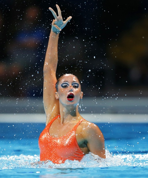 Greece's Despoina Solomou performs in the synchronised swimming solo free routine