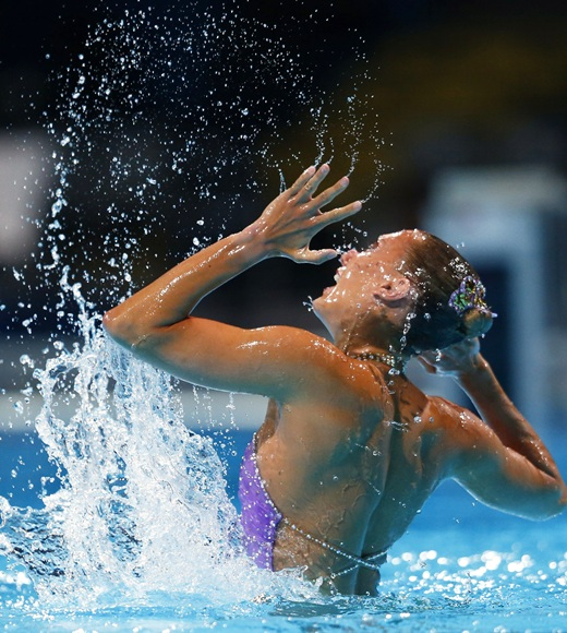 Britain's Jenna Randall performs in the synchronised swimming solo free routine