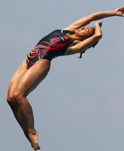 He Zi of China competes in the Women's 1m Springboard  Diving