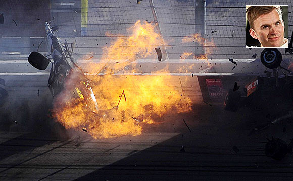 The car of Dan Wheldon (top left) bursts into flames during the Las Vegas Indy 300 part of the IZOD IndyCar World Championships