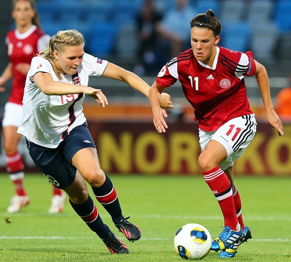 Ingvild Isaksen (left) of Norway and Katrine Veje of Denmark battle for the ball