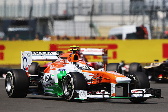 Adrian Sutil of Germany and Force India drives