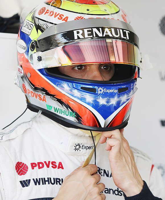 Pastor Maldonado of Venezuela and Williams prepares to drive at Hungaroring in Budapest, Hungary, on Sunday