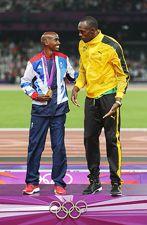 Great Britain's Mo Farah with Jamaica's Usain Bolt