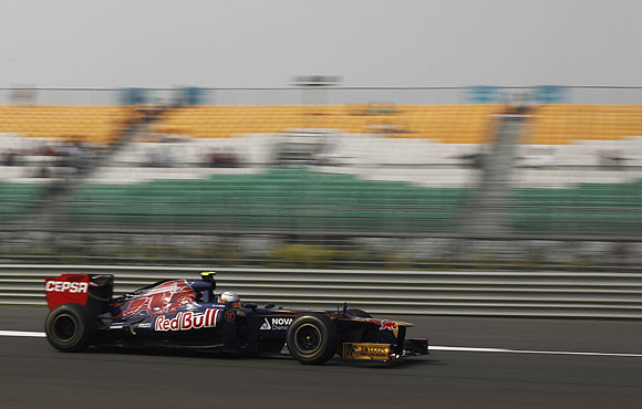 A race at the Buddh International Circuit during the Indian GP in Noida