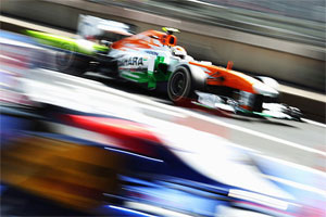 Adrian Sutil of Force India races during the Indian F1 GP in 2012