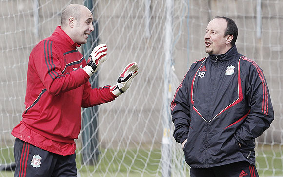 Jose Pepe Reina with Rafa Benitez