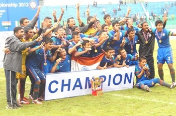 The victorious India team after beating Nepal in the final