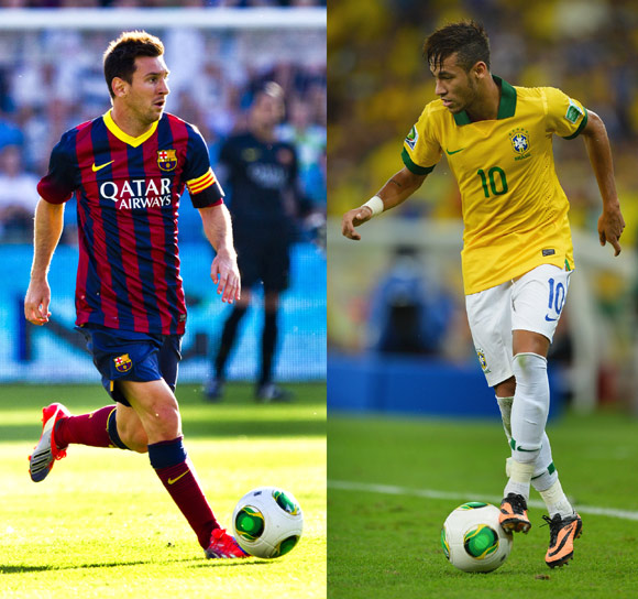 Barcelona's Lionel Messi and Neymar