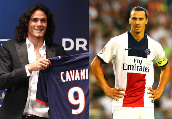 Edinson Cavani and Zlatan Ibrahimovic of PSG