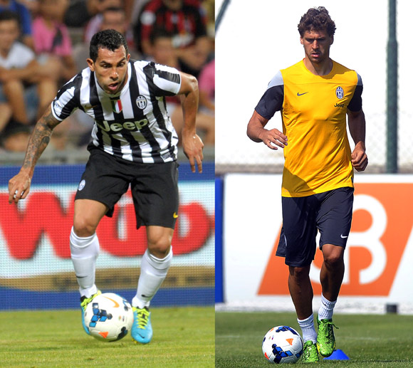 Juventus' new forwards Carlos Tevez and Fernando Llorente