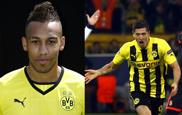 Pierre-Emerick Aubameyang and Robert Lewandowski of Borussia Dortmund