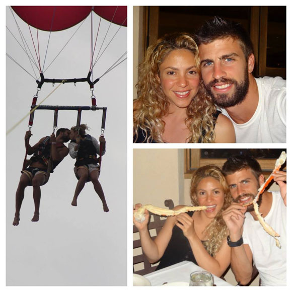A collage of photos from Gerard Pique and Shakira's vacation that was posted on Facebook