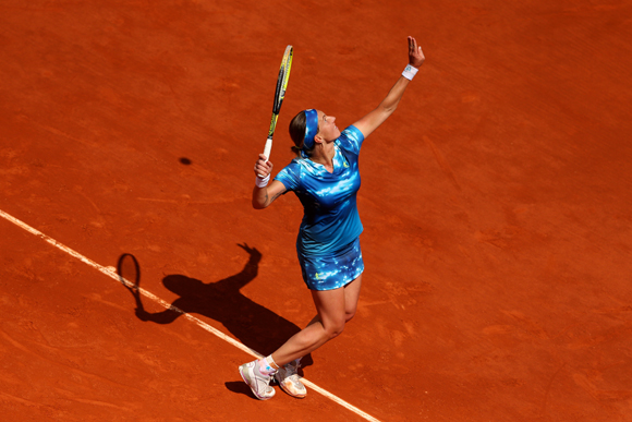 Svetlana Kuznetsova of Russia serves during her match against Angelique Kerber of Germany