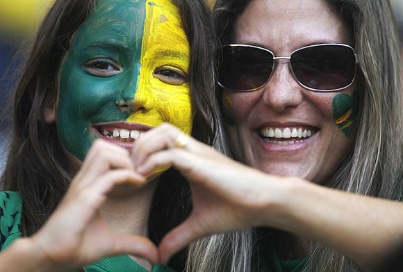 Brazil fans react during the international friendly between Brazil and England at the Maracana Stadium on Sunday