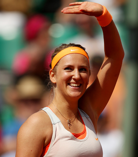 Victoria Azarenka of Belarus celebrates match point