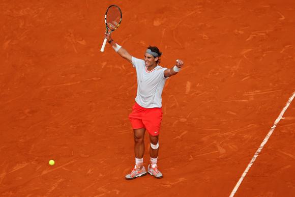 Rafael Nadal of Spain celebrates match point after his match against Stanislas Wawrinka of Switzerland