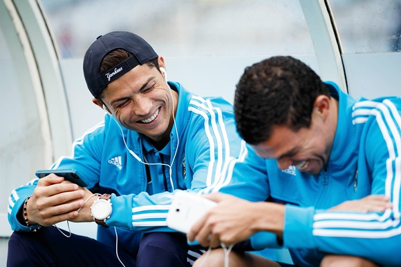 Cristiano Ronaldo (left) with teammate Pepe