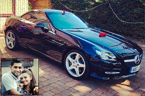 Boxer Amir Khan presents Merc SL to his wife
