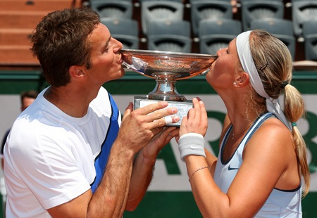 Frantisek Cermak and Lucie Hradecka of Czech Republic pose with the trophy