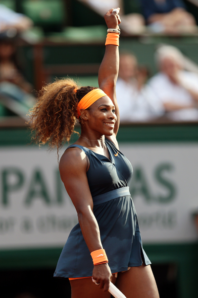 Serena Williams of United States of America celebrates match point in her match against Sara Errani of Italy