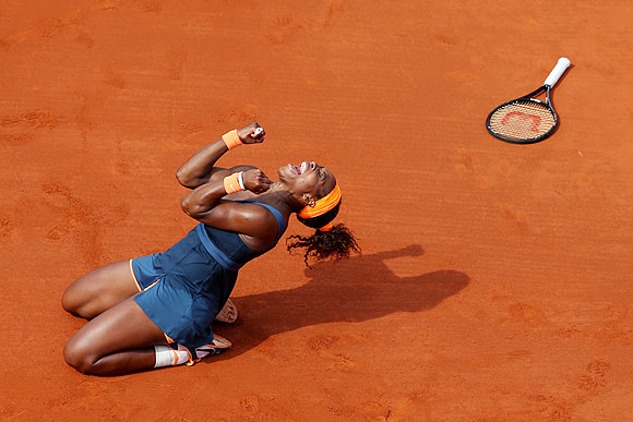 Serena Williams celebrates match point during her women's singles final against Maria Sharapova on Saturday