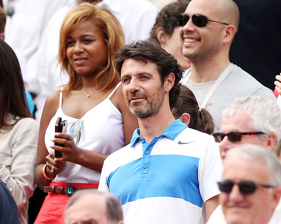 Patrick Mourataglou (right) looks on after the French Open final on Saturday
