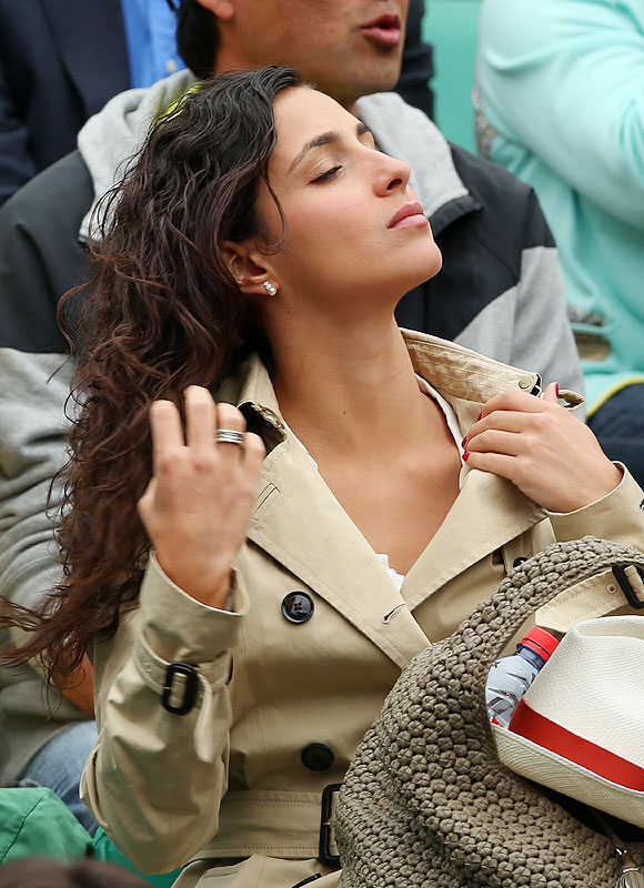 Rafael Nadal's girlfriend Xisca Perello watches the men's singles finalon Sunday
