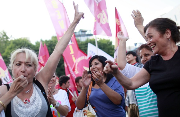 Anti-government protesters attend a demonstration in central Ankara