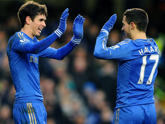 Eden Hazard (right) with Oscar