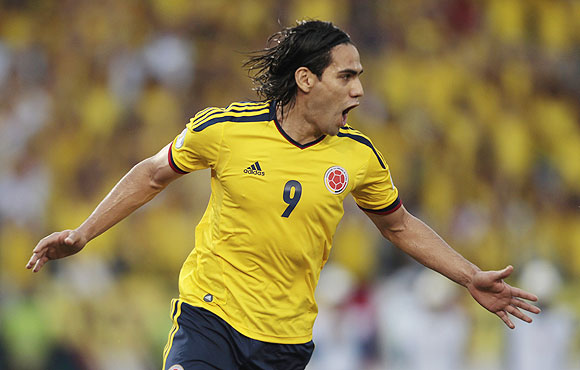 Radamel Falcao of Colombia celebrates after scoring a penalty against Peru on Tuesday
